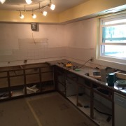 Progress on west side of kitchen.