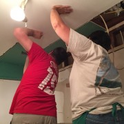 Vicky and Robbie on the drywall team.